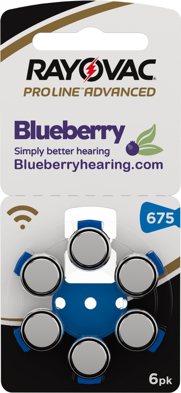 Rayovac Blueberry Hearing Aid Battery Size 675 Blue
